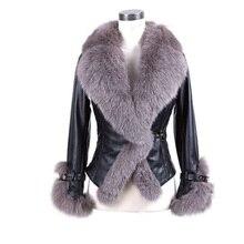 Daisy & Na Fox Fur Collar 100% Real Genuine Sheep Leather Coat Jacket Women Vintage Winter 205