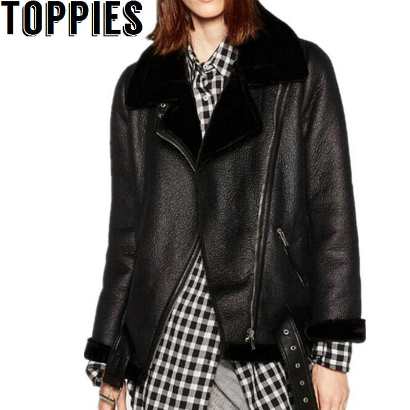 2017 Autumn and Winter Women Thicken Fluffy Faux Leather Fur Coat Faux Fur Lining Leather Jacket Aviator Jacket