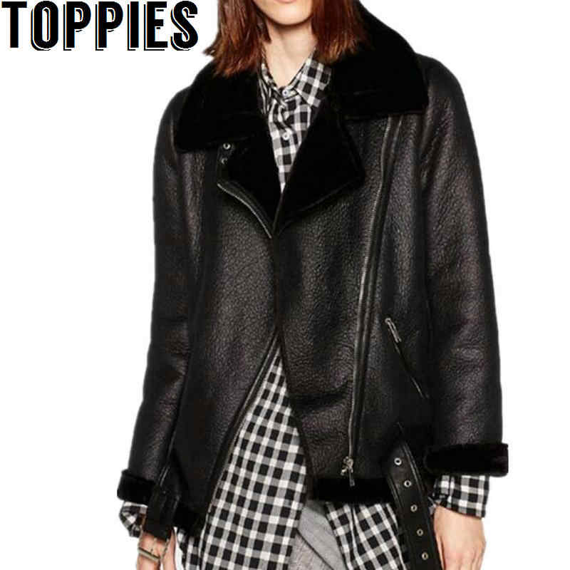 9301bece00 2019 Winter Women Sheepskin Coats Thicken Faux Leather Fur female Coat Fur  Lining Leather Jacket Aviator