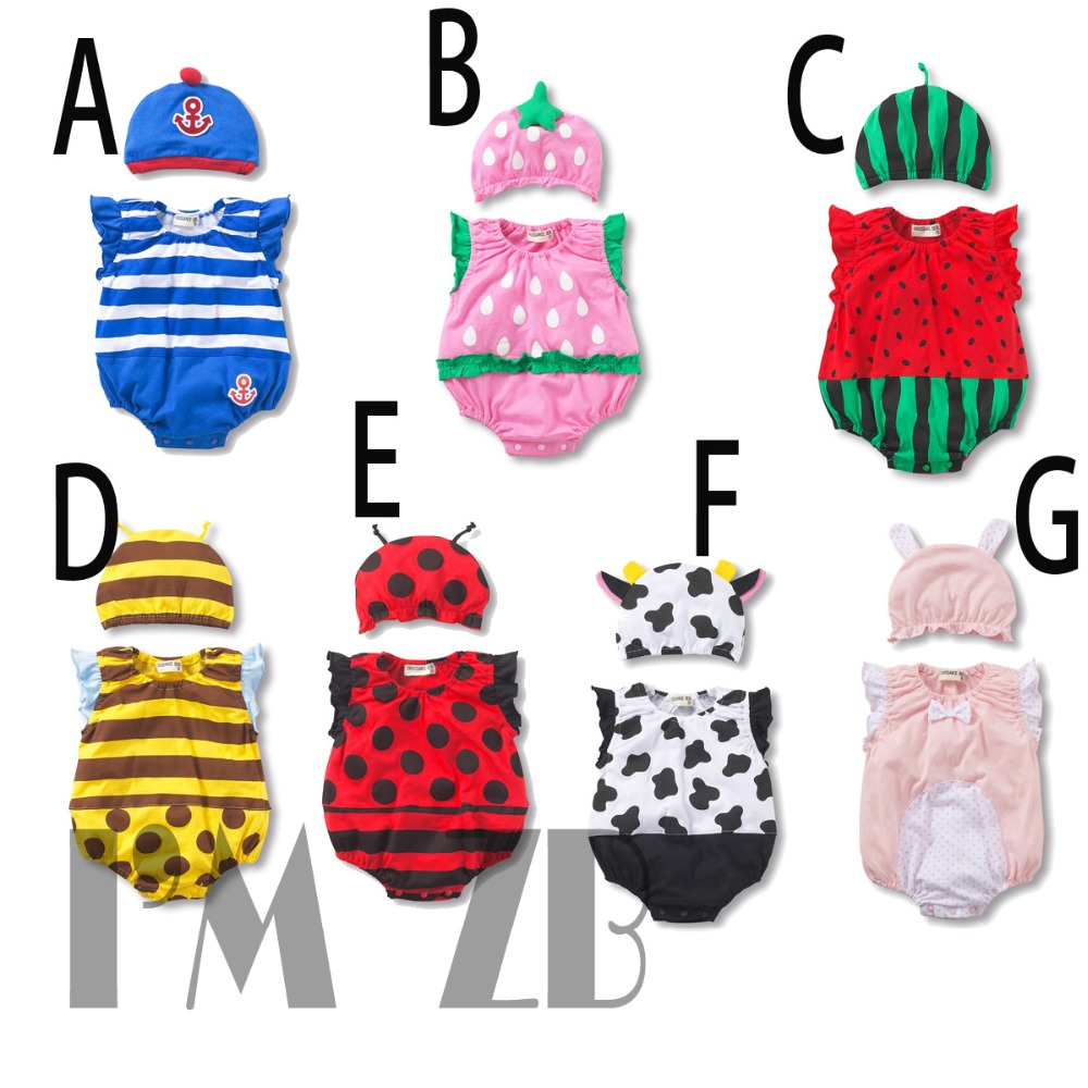 Baby Rompers Baby Boy Clothes Newborn Funny Romper+Hat 2 pcs Creepers  Infantil Clothes Carters Baby Girl Romper Baby Jumpsuit