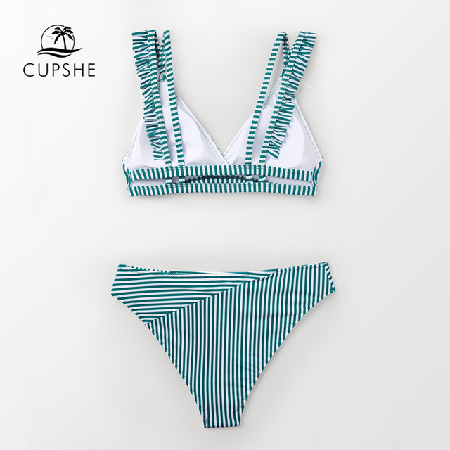 CUPSHE Cyan And White Stripe Double Straps Ruffle Bikini Sets Women Sweet Two Pieces Swimsuits 2020 Girl Beach Bathing Suits 2