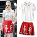 2 шт. комплект одежды женская мода вышивка воротник белой блузки рубашки и красный леди лица вышивка юбки костюмы NS351