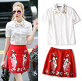 2 Piece Clothing Set Women's Fashion Embroidery Collar White Blouses Shirts And Red Lady Face Embroidery Skirts Suits NS351