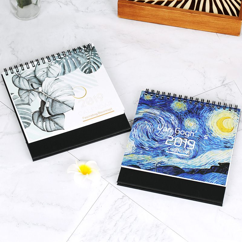 2019 Cute Cartoon Cat Van Gogh Table Calendar Desk Planner Paper Stationery Office School Supplies 2018.08~2019.12 Calendar