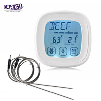 EAAGD Touch Screen Oven Thermometer Large LCD Digital Food Cooking BBQ Meat Thermometer With 2Pcs 3