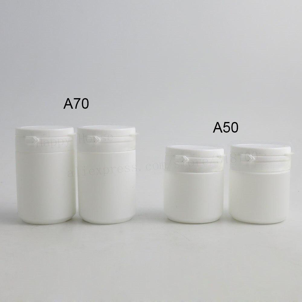 Top Quality 100/lot 50มิลลิลิตร70มิลลิลิตรHDPEของแข็งสีขาวขวดยาฮาร์ดw/ฉีกขาดหมวกพลาสติกเกรดทางการแพทย์บานพับด้านบนขวดทางการแพทย์-ใน ขวดรีฟิล จาก ความงามและสุขภาพ บน   2
