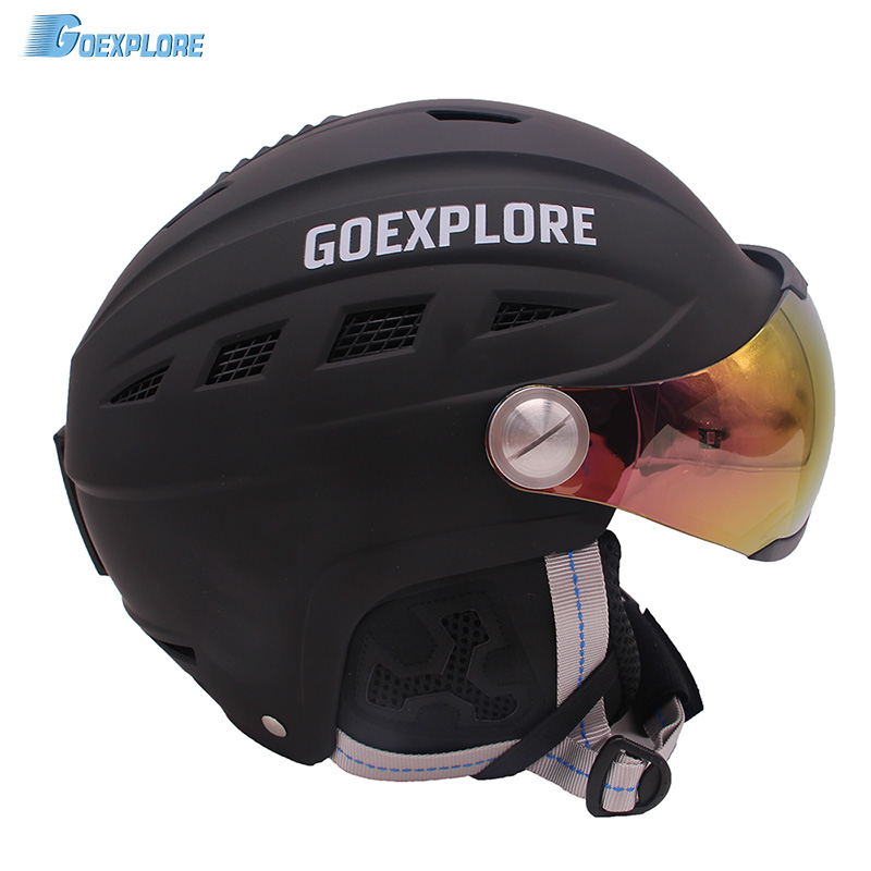 Goexplore Ski Helmet Male Female Half-covered Integrally ABS Outdoor Sport helemt with Visor Snow Snowboard Skateboard Helmet fender squier affinity telecaster mn black