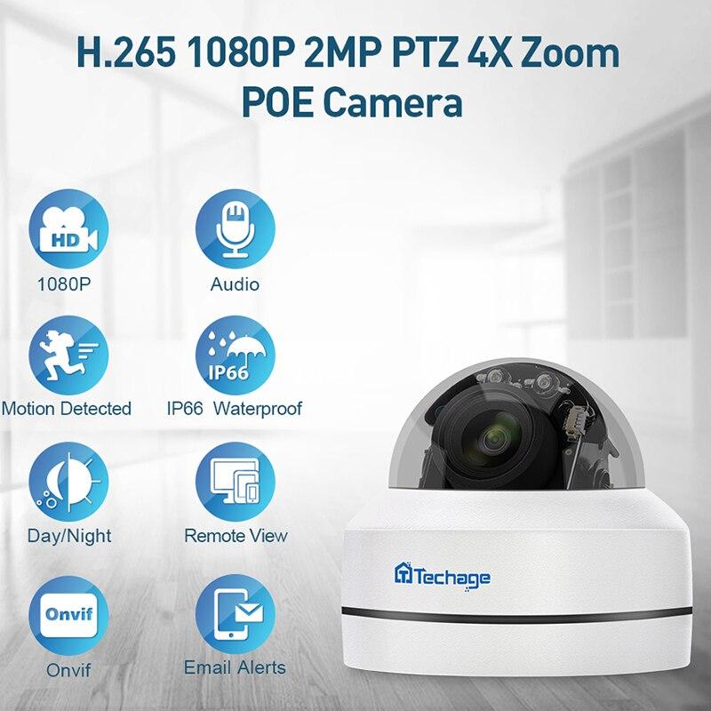 H.265 1080 P Zoom Mini Speed Dome PTZ Camera IP POE 4X P2P 2MP CCTV Segurança Interior Impermeável Ao Ar Livre Onvif POE Câmera de vídeo