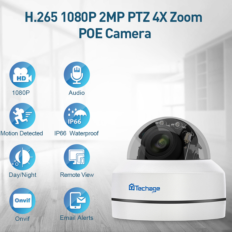 H.265 1080P PTZ POE IP Camera 4X Zoom Mini Speed Dome Indoor Outdoor Waterproof 2MP CCTV Security P2P Onvif Video POE Camera-in Surveillance Cameras from Security & Protection