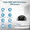 H.265 1080P PTZ POE ip-камера с 4-кратным зумом, мини-скоростная купольная Крытая наружная Водонепроницаемая 2-мегапиксельная камера видеонаблюдения ...