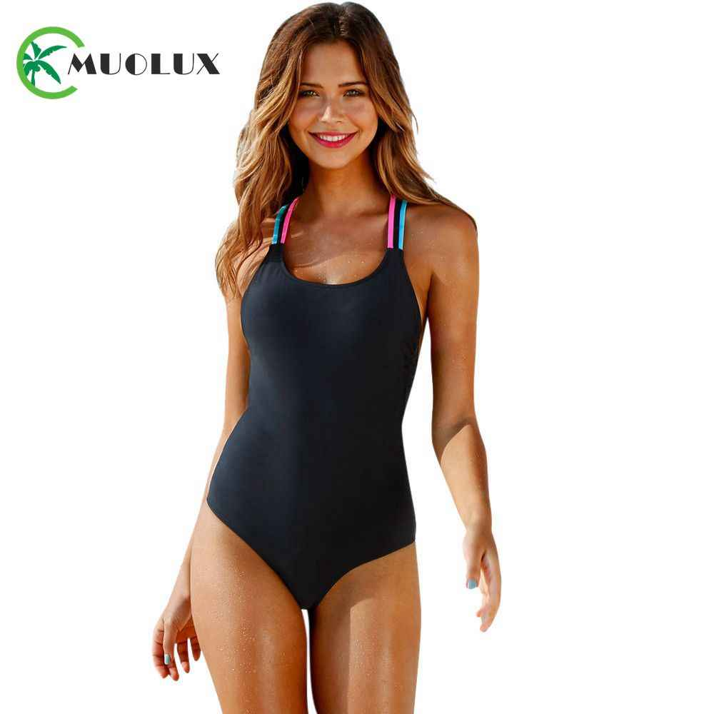 d9e99c79b497a MUOLUX 2019 Sexy blue Flamingos Print One piece Women Swimsuit Plus size  Swimwear Brazilian Thong Push