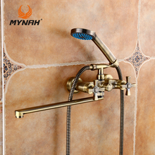 MYNAH Russia Free Shipping Brass Golden Bathroom Faucets Tub Filler Faucets Mixer Tap Spa Waterfall Hand Shower Holder M2759B
