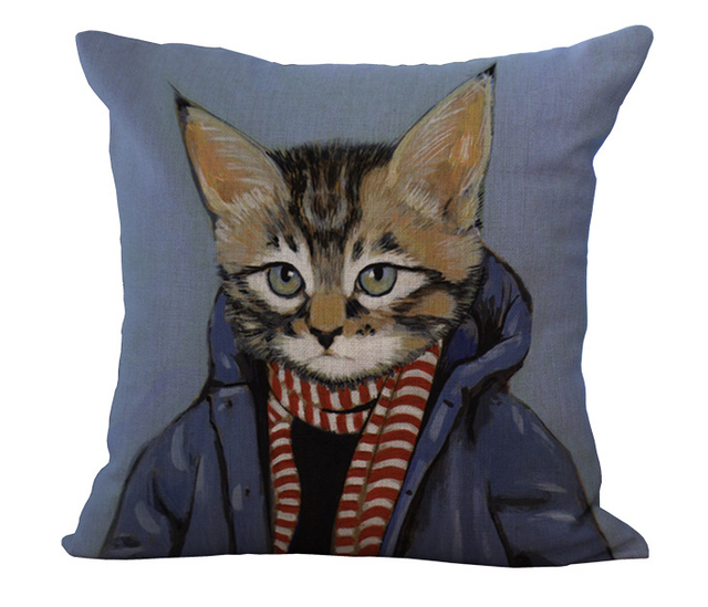 Mr Cat Down Jacket Red And White Striped Scarf Pillow Massager Enchanting Down Decor Pillows