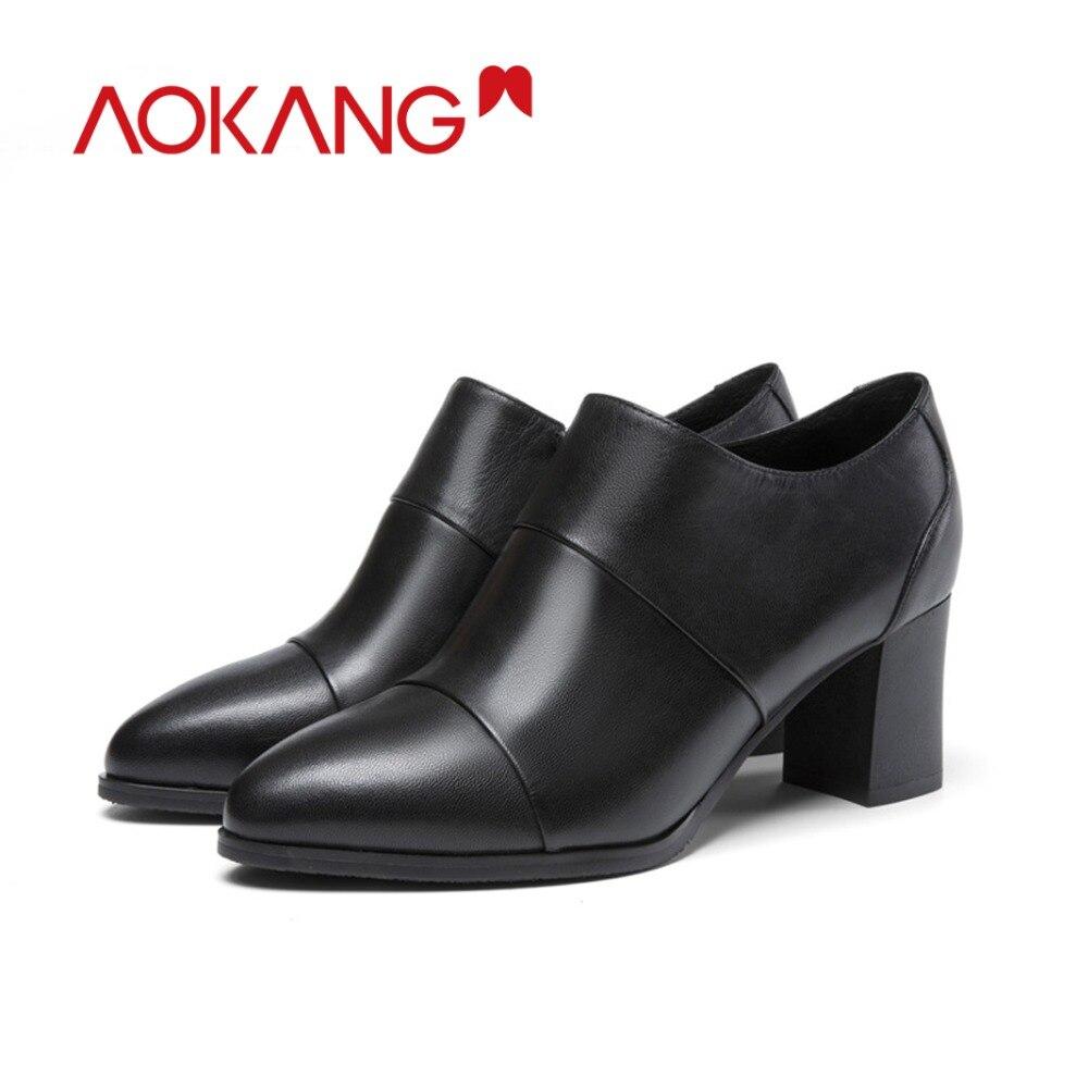 Heels Mode Frauen Schuhe Zipper Aokang grey184211042 Aus Weibliche Black184211041 Herbst Stiefel High 2018 Echtem Frau Leder wTxIPC8