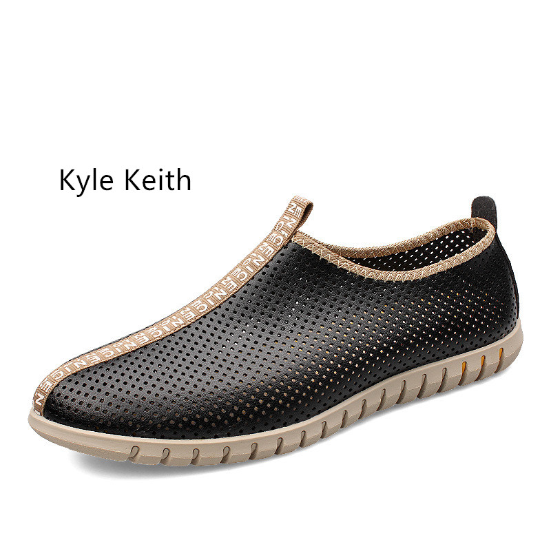 Kyle Keith Summer Causal Shoes Men Loafers Genuine Leather Moccasins Breathable Driving Shoe Flats for Male Plus Size 37-47 summer causal shoes men loafers genuine leather moccasins men driving shoes high quality flats for man