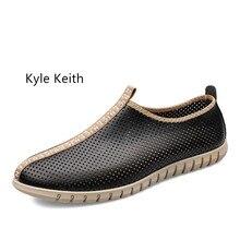 Кайл Кейт Летняя повседневная обувь мужские лоферы натуральная кожа Мокасины Дышащая обувь для вождения на плоской подошве мужской плюс Размеры 37-47