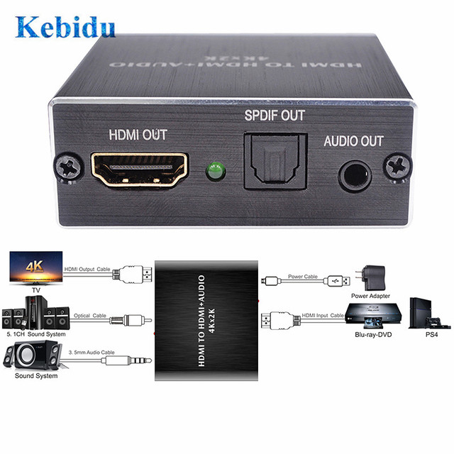 KEBIDU HDMI Audio Extractor AY78 HDMI to HDMI Optical TOSLINK SPDIF+3.5mm Stereo Extractor Converter HDMI Audio Splitter Adapter
