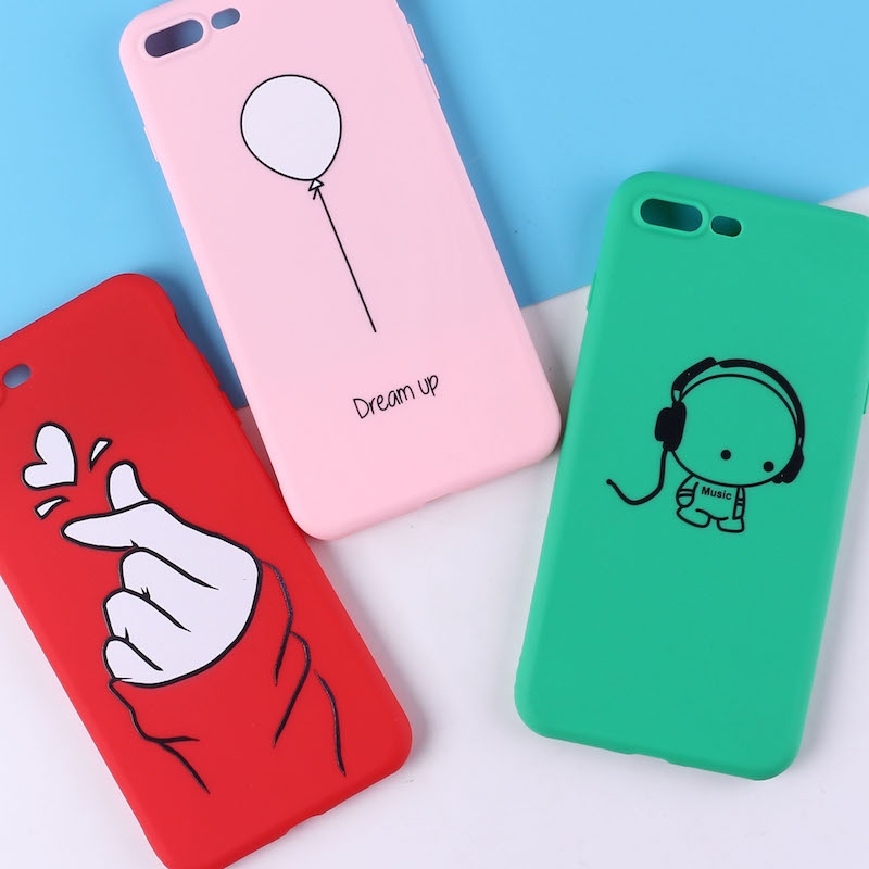 TOMOCOMO For 8 8Plus X 7 7Plus Cute Balloon Girl Pink Dream Soft TPU Silicone Matte Case Fundas Coque For iPhone 6 6S 5 SE Cover