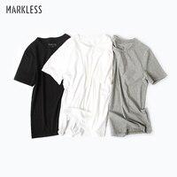 Markless Summer Cotton T Shirt Men Fashion Casual Tshirt Classic Basic T Shirt 2 Pieces Pack