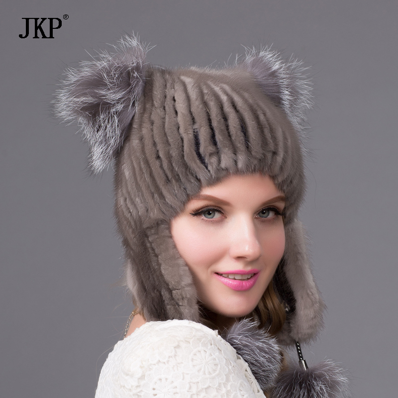 Women's genuine mink fur hat with pom winter beautiful cat ear style cap 2016 latest new hats for women
