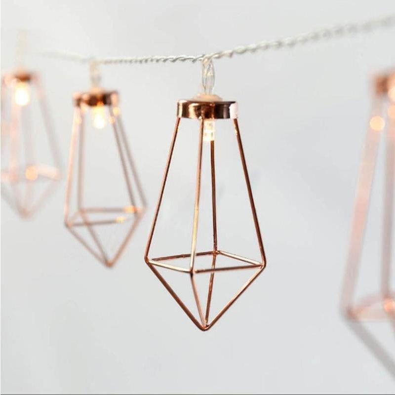 LED Diamond Shape Fairy String Light 1.1m/3m 10/20 LEDs Retro Iron Metal Wedding Party Home Decoration Lantern String Lamp