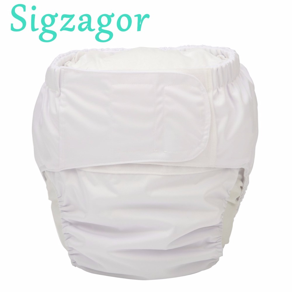 Sigzagor 5 XL Adult Cloth Diapers Nappies Urinary Incontinence Pocket Reusable Insert Hook Loop ABDL
