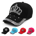Fashion Women Baseball Cap Rhinestone Star Shaped Girls Snapback Hip Hop Hat Baseball Cap