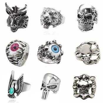 Vintage Skull Punk Rings