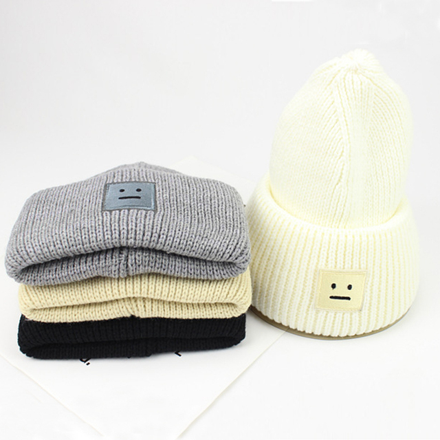 ce6aaead145 FURART fashion box smiling face sets of head hat autumn and winter  thickening women knitted hat men and women general sharp tide
