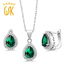 GemStoneKing 6.50 Ct Pear Shape Green Nano Emerald Pendant Earrings 925 Sterling Silver Vintage Wedding Jewelry Sets For Bridal