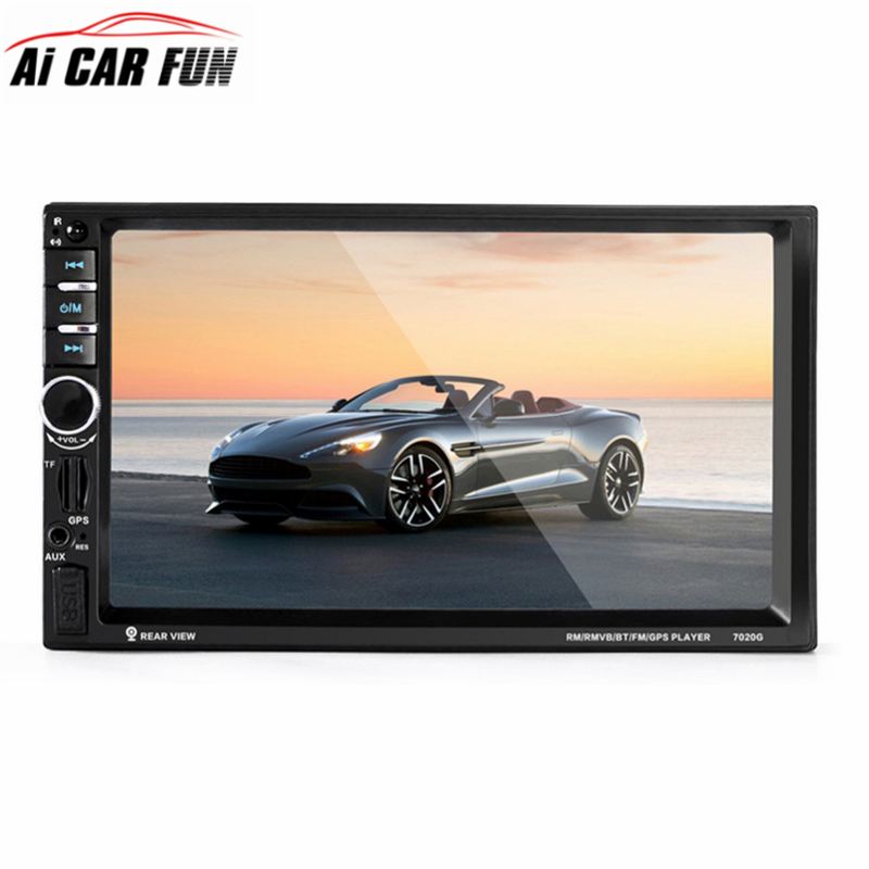 7020G 7 1 DIN  1024 * 600 Touch Screen Car Radio DVD MP5 Video Player+Rear CamBluetooth FM GPS Navigation with GPS Antenna ultra thin 7 touch screen lcd wince 6 0 gps navigator w fm internal 4gb america map light blue