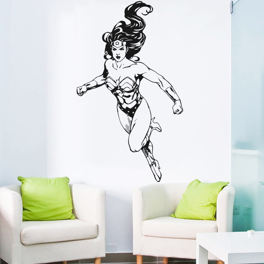Wall Decal Vinyl Sticker DC Super Hero Wonder Woman Wall Mural For Girls Kid Rooms House Decoration Design Decor Poster WW-297