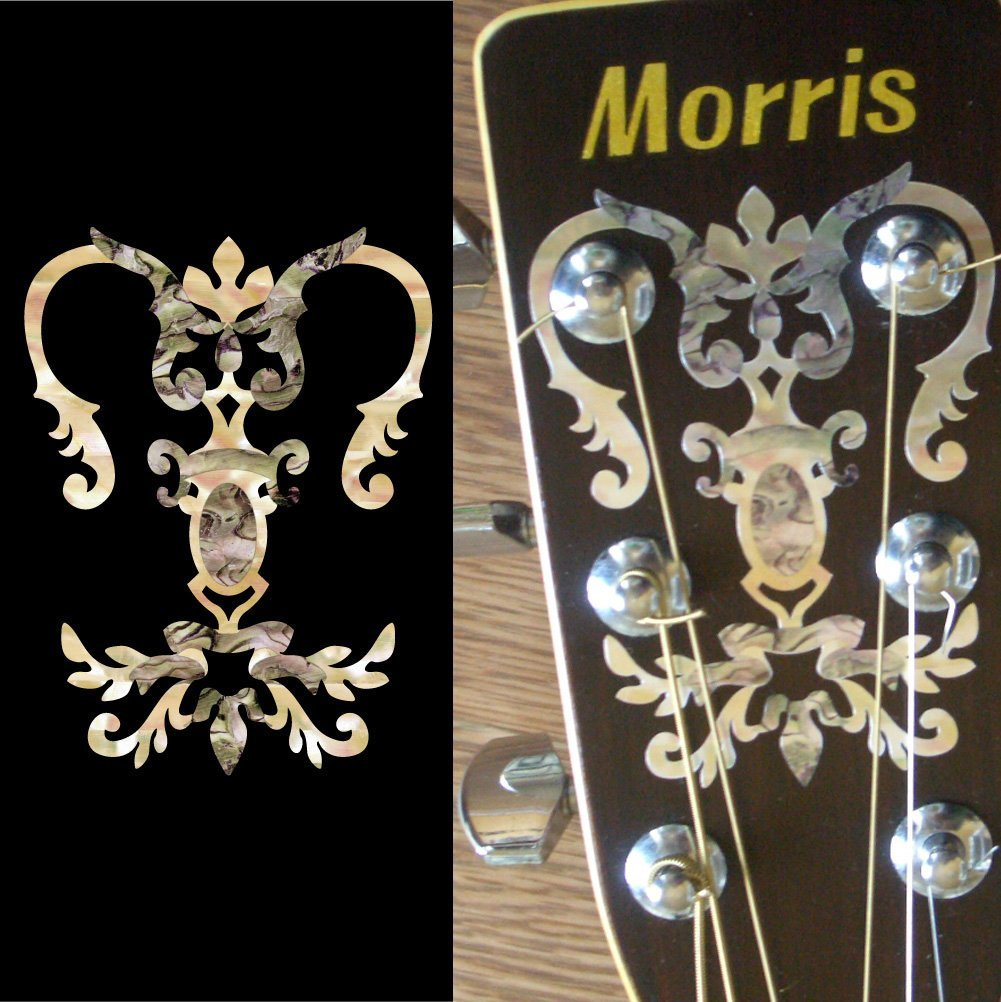 Inlay Sticker Decal for Guitar Headstock - Chandelier Torch inlay sticker decal guitar headstock diamond hatch gold white