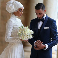 MZYW11 New White/Ivory High Neck Long Sleeve Lace Muslim Wedding Dress Bridal Gown Custom Size With Hijab Custom Size