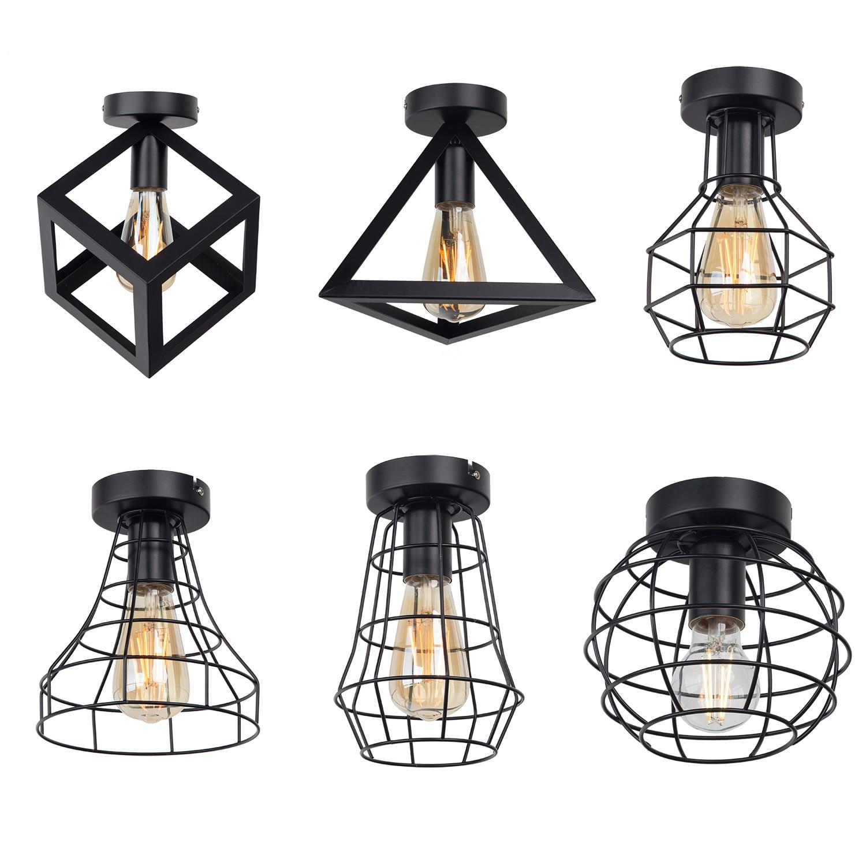 Zhaoke Vintage Iron Black Ceiling Light LED Industrial Modern Ceiling Lamp Nordic Lighting Cage Fixture Home Innrech Market.com