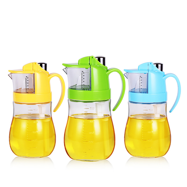 UPSTYLE Press Type Glass Oil Bottle Seasoning Condiment Bottles Kitchen  Accessories For Vinegar And Soy Sauce