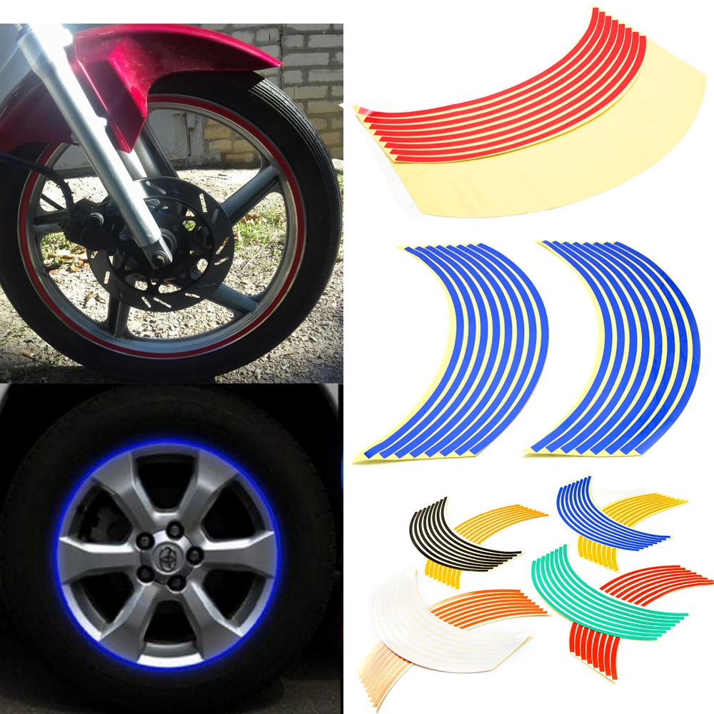 Reflective Motorcycle Wheel Stickers Motorcycle Wheel Hub Tire Sticker For Honda <font><b>VFR</b></font> NC 700 <font><b>750</b></font> 800 1200 F VFR750 VFR800 VFR1200 image
