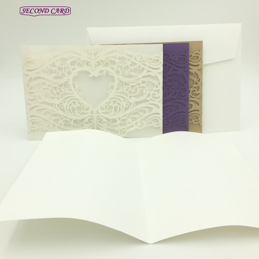 10pcs/set Laser Cut Love Heart Vine Lace Wedding Invitation Card ...