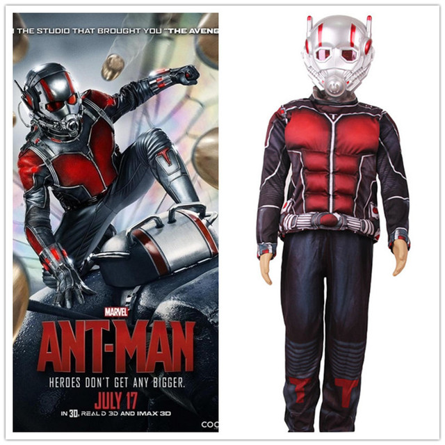 Child Deluxe Ant man Muscle Costume Boys Marvel New Superhero Cosplay Halloween Fancy Dress 3pcs Outfit & Child Deluxe Ant man Muscle Costume Boys Marvel New Superhero ...