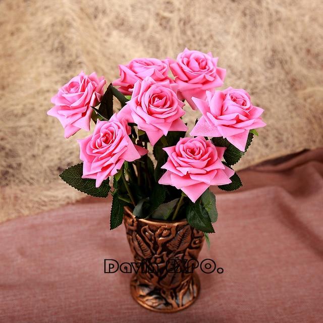 New 6Pcs Big Artificial Rose Flannelette Korean Flower Bouquet ...