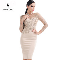 Missord 2016 Flash Sexy Halter High Necked Long Sleeved Sequin Dress FT4180