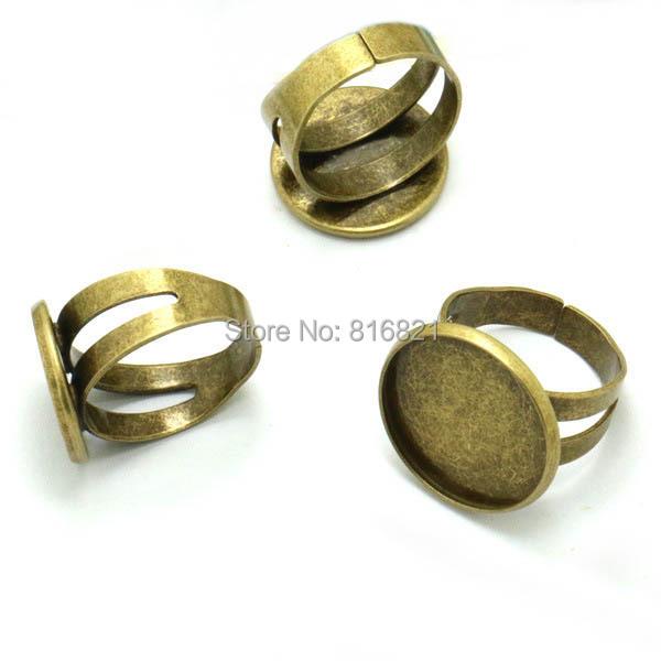 Open Rings Settings Blank w 16mm 18mm 20mm Round Smooth Bezel Cabochon Bases Men's Metal Ring DIY Findings Antique Bronze tone