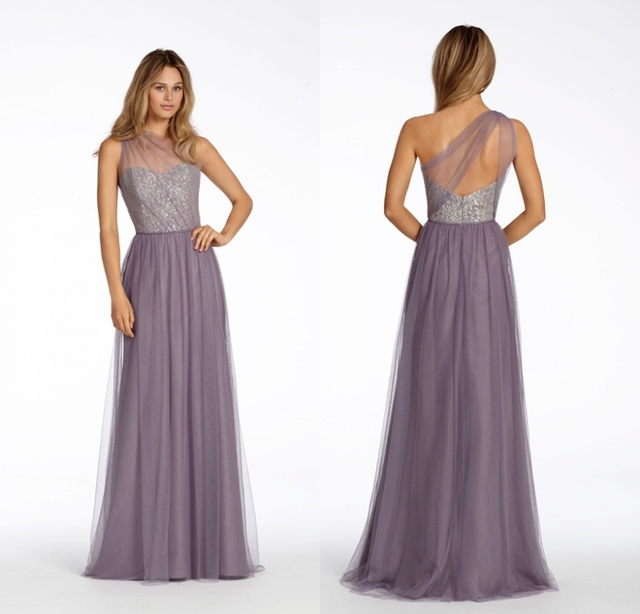 7b24c8d7065 Lilac 2017 Long Bridesmaid Dresses One Shoulder Lace Tulle A-line Floor  Length Boho Wedding Party Gowns Custom Made Fast Ship