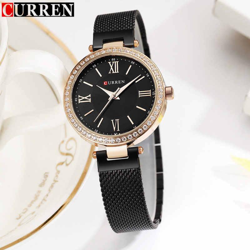 נשים שעון קוורץ מותג יוקרה Curren מותג זהב השחור צמיד יד של מתנות תכשיטי שמלת גבירותיי אופנה שעון נקבה