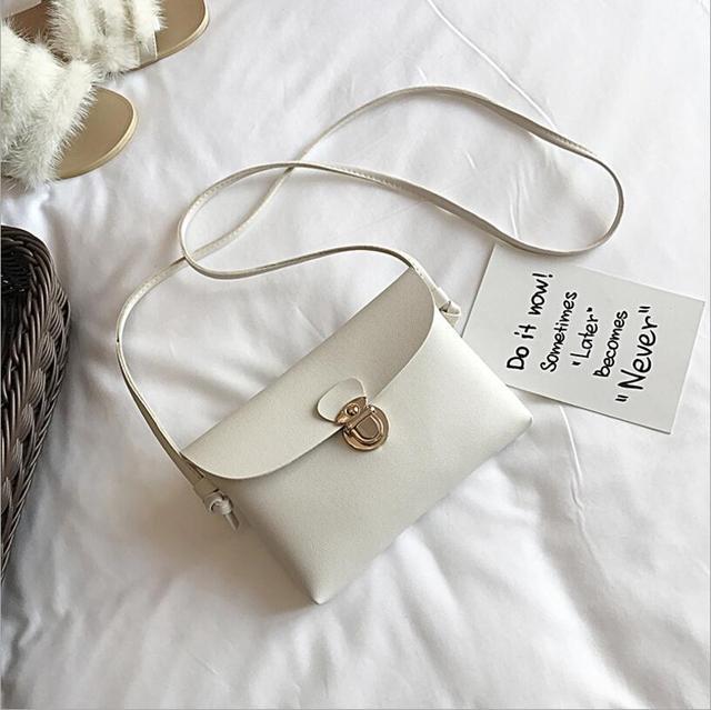 Simples Pure Color Mulheres Mini Bloqueio Flap Messenger Bag Couro PU Meninas bolsa de Ombro Ocasional Bolsas Femininas Pequenas Bolsas