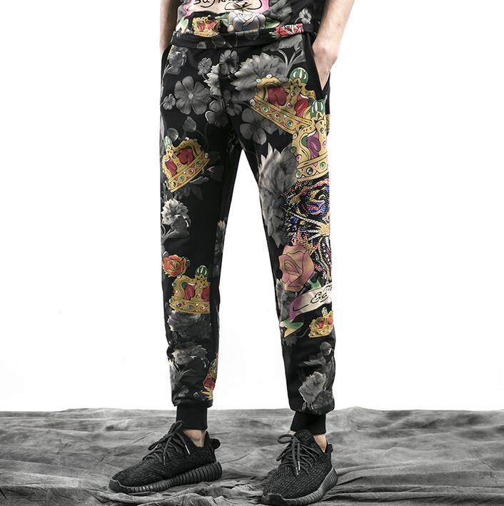 Thin loose personality fashion mens casual pants printing harem pant men feet trousers p ...