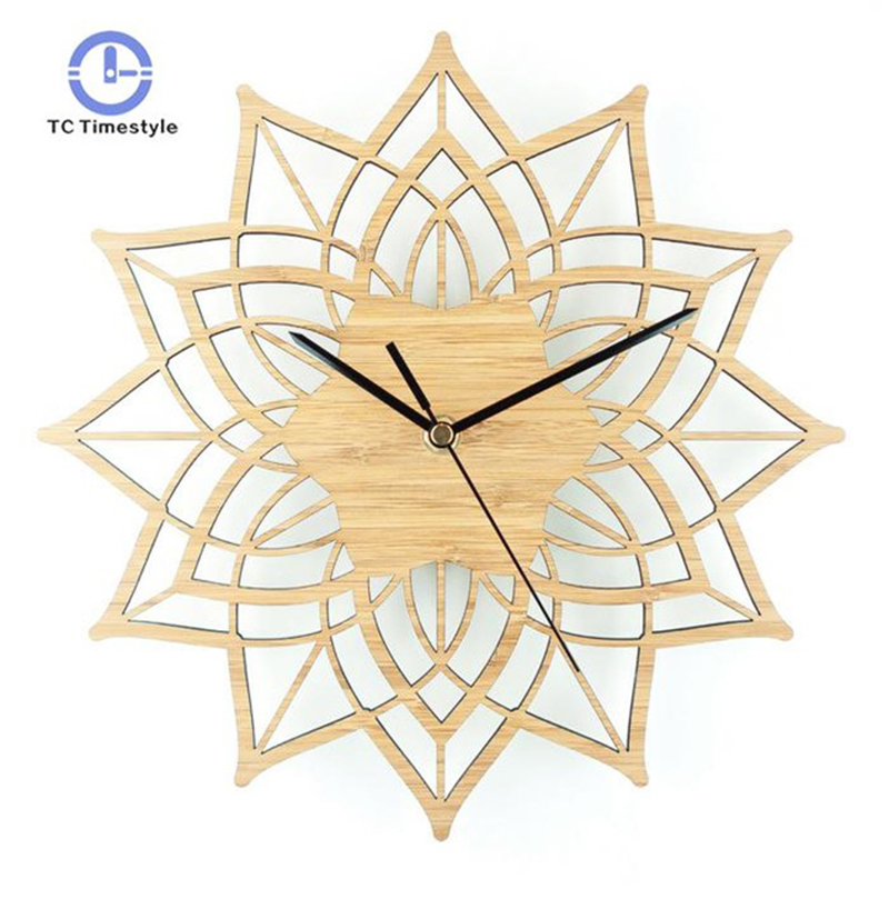 Natural Wood Lotus Modern Wooden Wall Clock Fashion Creative Bamboo Wall Hanging Watch Quartz Mute Clocks