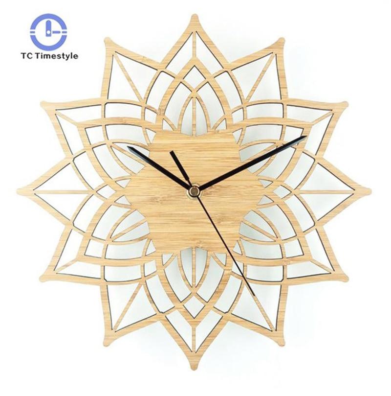 Natural Wood Lotus Modern Wooden Wall Clock Fashion