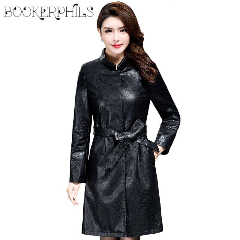 2018 Long Plus Size Winter   Leather   Coat Coat Female Autumn High Quality Slim Women   Leather   Jacket Waistband Black/Gray M-3XL