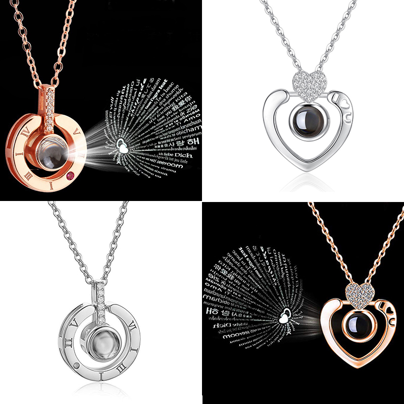 Romantic Jewelry Necklace Memory Projection Pendant Languages Double-Heart-100 Love-You